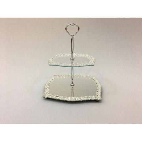 Kristal Katlı Şekerlik Kare Gümüş