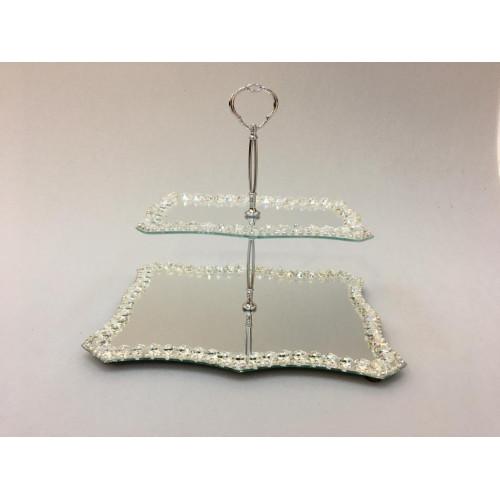 Kristal Katlı Şekerlik Dalgalı Gümüş