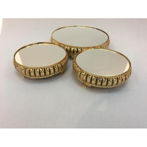 Gold Yuvarlak Jardinyer 3'lü Set