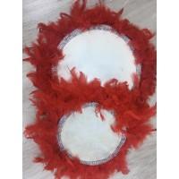 30 cm Kırmızı Kaz Tüylü Gümüş Boncuk Detaylı Deri Tef