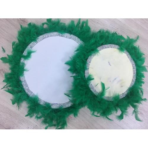30 cm Yeşil Kaz Tüylü Gümüş Boncuk Detaylı Deri Tef