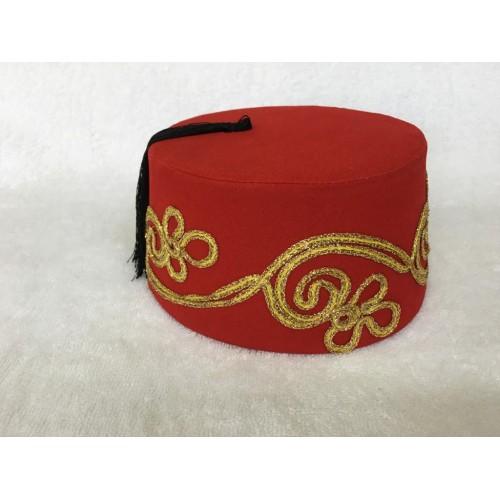 İşlemeli Kırmızı Renk Osmanlı Fesi
