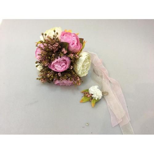 Pembe Beyaz Gelin Buketi ve Damat Yaka Çiçeği