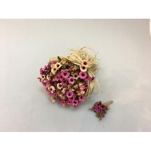 Pembe Kırçiçeği  Gelin Buketi ve Damat Yaka Çiçeği
