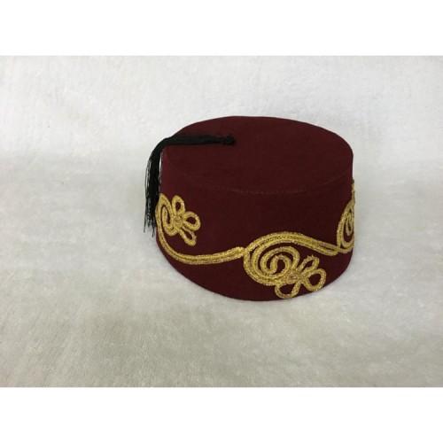 İşlemeli Bordo Renk Osmanlı Fesi