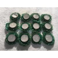 Kına El Mumu 2 Kat Fırfırlı Yeşil Gümüş Simli