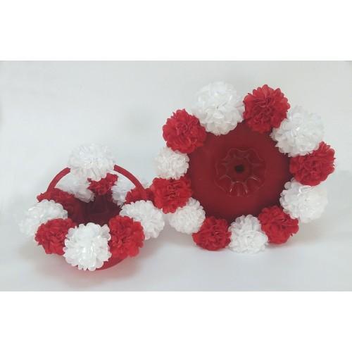 Kına Sepet Tepsi Takımı Monaryn Kırmızı Beyaz