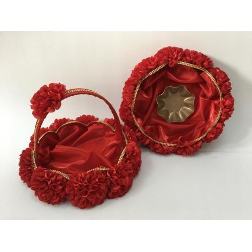 Kına Sepet Tepsi Takımı Dalgalı Monoray Kırmızı